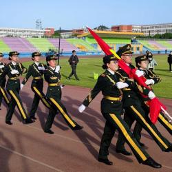 清晨,中国农大5000名团员青年国旗下学党史、齐宣誓